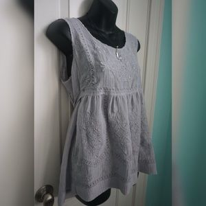 Periwinkle Stitched Top with Waist Tie